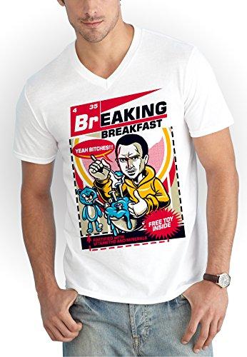 Breaking Breakfast V-Neck Shirt White