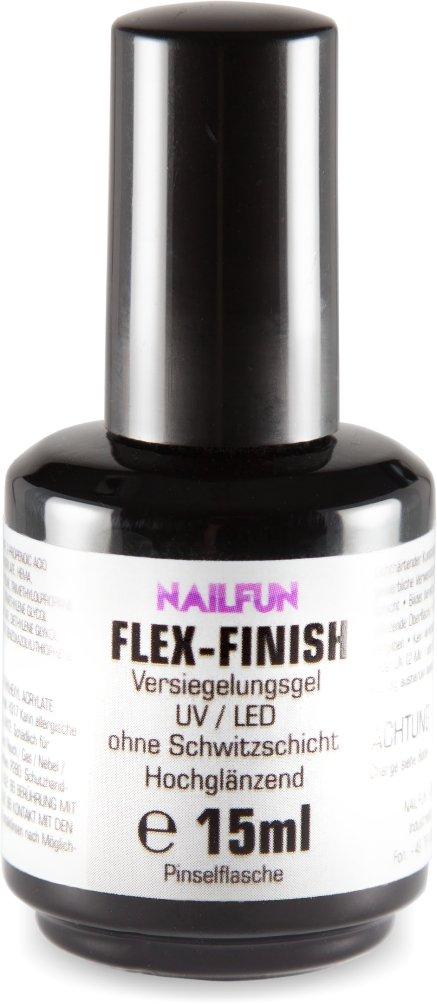 UV-Flex-Finish ohne Schwitzschicht 15ml in der Pinselflasche - hochflexibles hochglänzendes dünnfliessendes Versiegelungsgel in der Pinselflasche NAILFUN ®