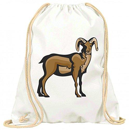 Turnbeutel Büffel mit Hörner steht mit Kordel - 100% Baumwolle- Gymbag- Rucksack- Sportbeutel Weiß