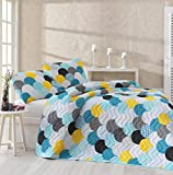 LaModaHome Colors Bedding Set, 65% Cotton 35% Polyester - Circular Patterned Colors, Wavy, Gray, Blue, Yellow, Black - Set of 2-100% Fiber Filling Bedspread and Pillowcase for Twin and Single Bed