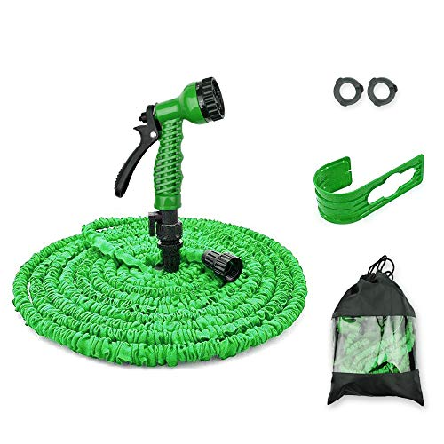 Sanwich 50 Feet Garden Hose, Water Hose, Hose Reel, Best Hoses, Expandable Garden Hose with Holder & Free 7-Way Spray Nozzle Flexible Hose (50 FT, Green)