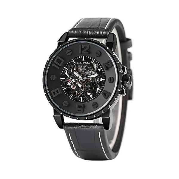 Clearance Watches for Men, Keller & Weber Luxury Watch, Automatic Mechanical Steampunk Gear Men Male Wristwatch 5