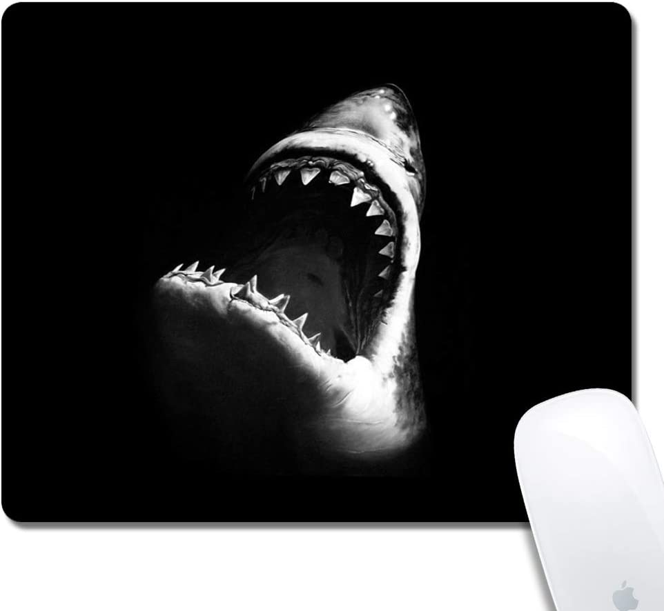 Mouse Pad with Stitched Edges,Fiercely Shark Customized Design Extended Gaming Mouse Pad Anti-Slip Rubber Base Ergonomic Mouse Pad for Computer -Black Rectangle
