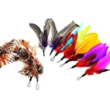 SUMCOO Cat Toys, 9 pack Telescopic Cat Wand Feather Refill And Soft Furry Pet Toy Feather Replacement For Interactive Cat and Kitten Toy Wands. (feather)