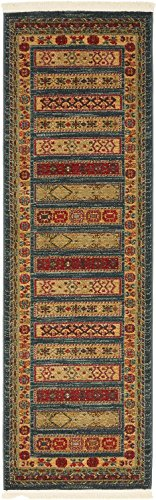 Land of Gabbeh Rugs Modern Contemporary Persian Design Blue 2' x 6' FT Runner Area Rug - Perfect for Any Home Décor - Living Room/Dinning Room/Play Room/Bedroom/Kids Room