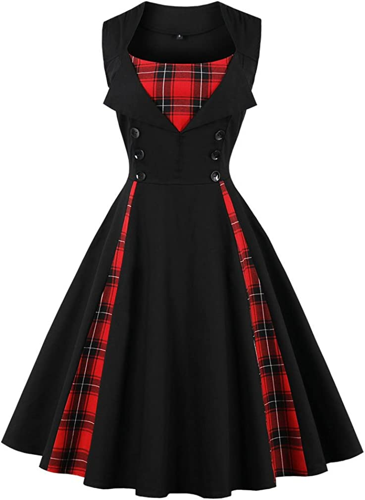 TALLA L. VERNASSA 50s Vestidos Vintage,Mujeres 1950s Vintage A-Line Rockabilly Clásico Verano Dress for Evening Party Cocktail, Multicolor, S-Plus Size 4XL 1357g-negro