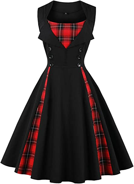 TALLA M. VERNASSA 50s Vestidos Vintage,Mujeres 1950s Vintage A-Line Rockabilly Clásico Verano Dress for Evening Party Cocktail, Multicolor, S-Plus Size 4XL 1357g-negro