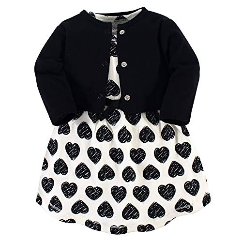 Touched by Nature Girl Baby Organic Cotton Cardigan and Dress, Heart 2 Piece Set, 5 Toddler (5T)