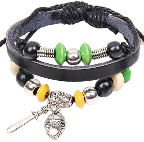 Richy-Glory - Gladiator helmet Knight sword bracelet leather bracelet (Gladiator Leather Sword)