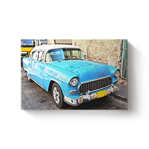 Classic Car Story Canvas Print Art Wall Decor Modern Home Collection Oil Painting Artwork Stretched and Framed Ready to Hang, 16X24In -