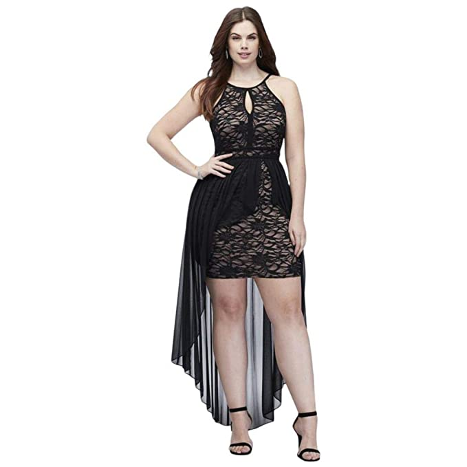 Lace Keyhole Plus Size Halter Dress with Overskirt Style ...