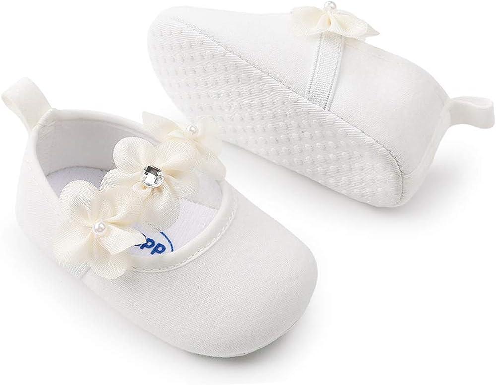 Meckior Infant Baby Girls Soft Sole Prewalker Crib Mary Jane Shoes Princess Light Shoes