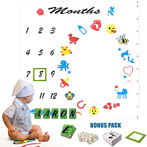Monthly Milestone Blanket | Included-52 Letter Cards, Marker, Baby Bibs | Milestone Blanket Personalized Name | Super Soft - Large Size | Baby Monthly Blanket for Boy or Girl | Ideal Baby Shower Gift