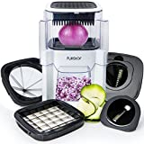 Vegetable Chopper Onion and Fruit Cutter (5 In 1) Dicer with 2 Spiral Slicer Spiralizer Blades for Veggie Noodle Zucchini Spaghetti Food Maker French Fry Potato Fries Vegetables and Onions