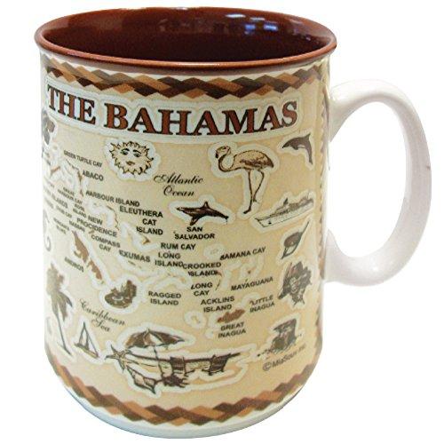 Mug Bahamas Souvenir Antique Brown Map Embossed Ceramic Coffee Mug Tea Cup 11 oz (Bahamas)