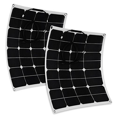 uxcell 2pcs 50W 18V 12V Bendable Solar Panel Water/ Shock/ Dust Resistant Power Solar Charger for RV, Boat, Cabin, Tent, Car, Trailer, or Any Other Irregular Surface