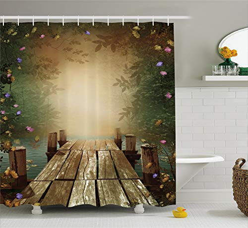 Going Away Gifts Fairy Tale Wooden Floating Dock Imaginary World Lilac Purple Yellow Pink Roses Whimsical Romantic Home Decor Artistic Decorating Art Deluxe Fabric Poetic Design Teal Shower Curtain