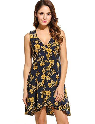 Halife Women Summer Deep V-Neck Sleeveless Floral Printed Vintage Dresses (S,Navy Blue)