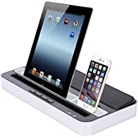 Ipod Touch Docking Station, Acecharming Dual Docking Station Audio Speaker Charging for iPhone 7/6/6s/5/4/4S iPad2/3/4 iPod Touch Mini/Air Samsung Galaxy