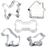 Dog Cookie Cutter Set, 5-Piece-Bone Sandwich Cutter and Dog House Shaped Cookie Cutter,Stainless Steel Biscuit Cutters…