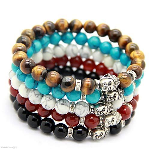Mikash Mens Silver Buddha Natural Stone Beads Yoga Energy Beaded Bracelet Jewlery | Model BRCLT - 10134 |