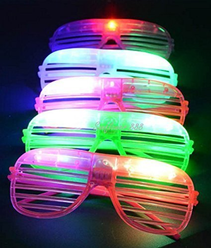 Simple Joy 24 Pack Sunglasses Glasses LED Flashing Futuristic Glowing Shades Rave Party ()