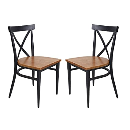 KARMAS PRODUCT Kitchen Dining Room Chair W Slolid Wood Seat Metal Legs Furniture