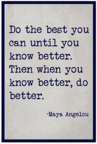 Do The Best You Can Maya Angelou Quote Wall Poster Print|Classroom Office Business Dorm Home Office|18 X 12 In|SJC76