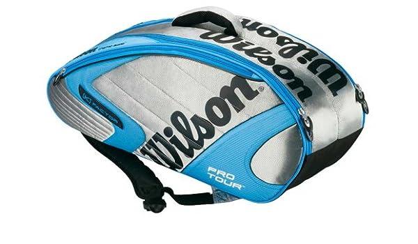 Amazon.com : Wilson K Pro Tour Six Pack Tennis Bag Silver Blue : Sports & Outdoors