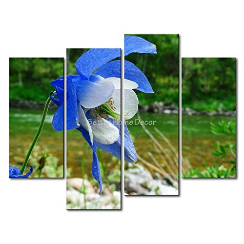 (YEHO Art Gallery Painting Blue Columbine By The River Print On Canvas The Picture Flower Pictures Oil Prints For Home Decor)