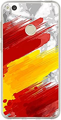BJJ Funda transparente para [ Huawei P8 Lite 2017 ], Carcasa de silicona flexible TPU, diseño: Bandera españa, pintura de brocha sobre fondo abstracto: Amazon.es: Electrónica