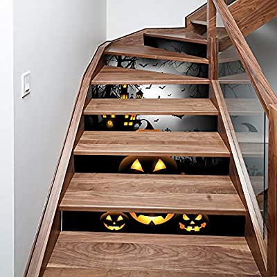 Mettime 3D Autoadhesivo Desmontable Impermeable Escalera Sticker DIY Halloween Stair Sticker-Casa De Vacaciones Tile Step Home Decoración De Halloween Escalera Sticker (6 En 1): Amazon.es: Deportes y aire libre