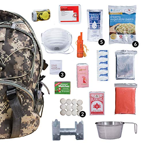 Wise Company Survival Kit, Food and Emergency Supply Backpack, Camo (Best Earthquake Preparedness Kit)