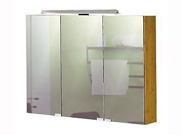 Spiegelschrank aus Bambus massiv, 3 Spiegeltüren, innenverspiegelt ... | {Spiegelschrank holz massiv 56}