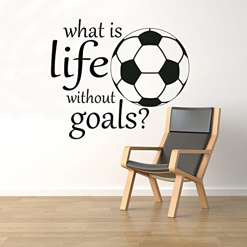 What is Life Without Goals Wall Motivational Quotes Vinyl Decal Sticker Soccer Ball Home Art Decor Removable Interior (17qts) by BestDecalsUSA