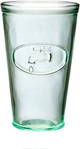 Amici Home Italian Recycled Green Water Tap Hiball Glass, 16oz, Set of 6
