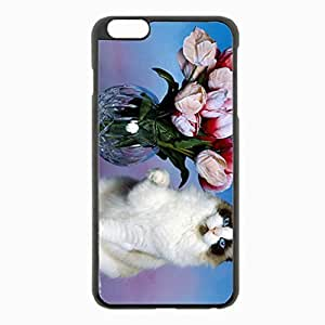 iPhone 6 Plus Black Hardshell Case 5.5inch - vase flowers cute Desin Images Protector Back Cover