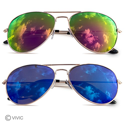 Two piece Aviator Mirrored Lenses Metal Frame - Glasses Gladiator