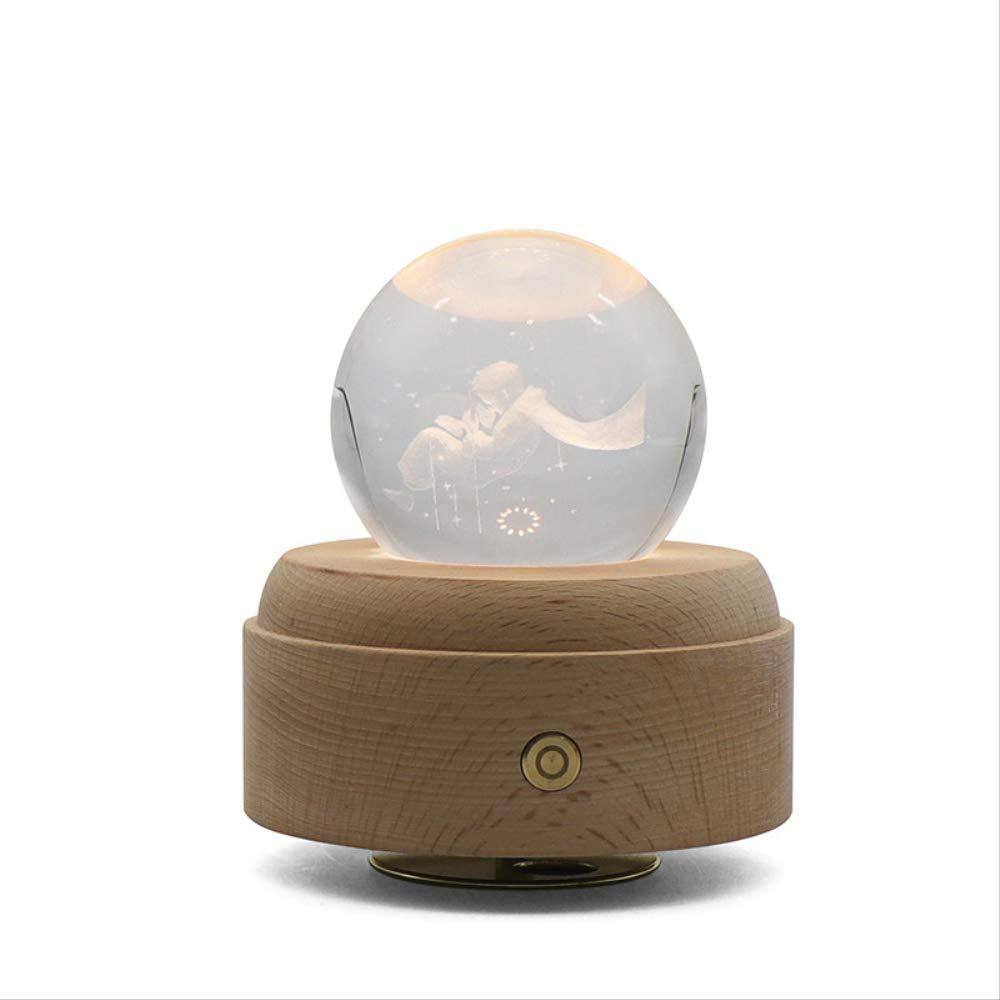Luz de noche Bola de cristal Creativo Principito Caja de m/úsica Luz de noche giratoria Decoraci/ón Luz de regalo