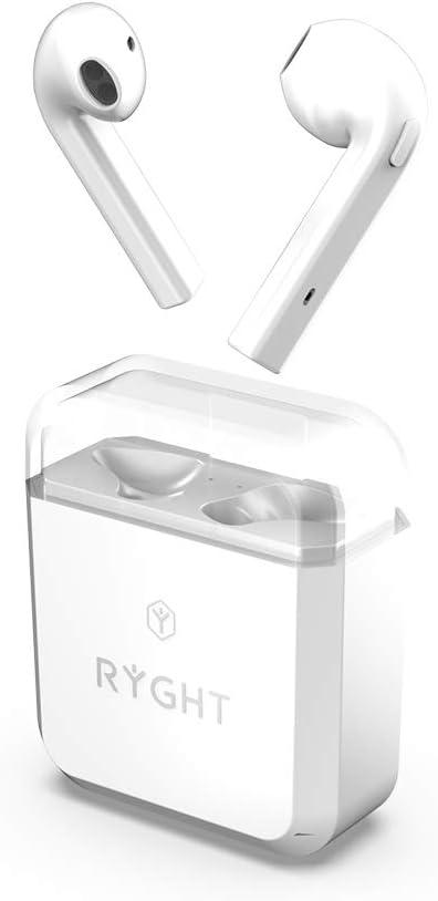 Ryght Bi Buds Ecouteurs sans Fil Bluetooth, Kit Mains Libres, Appel en Stéréo, Boitier de Recharge Autonome, Batterie Longue Durée 3h+15h, Fonction