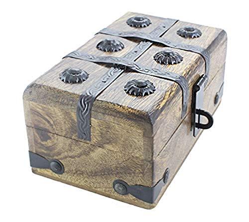 - Axventari Medium Treasure Chest Box Wood Decorative Keepsake 7