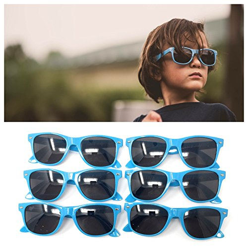 Blue Kids Sunglasses (6 Pack) – 100% UV Protection for The Beach, Pool and Outdoor Activities - Reduces Glare and Eye Strain - Wayfarer Style Glasses - Best for Party - Protection Uv 100 Meaning