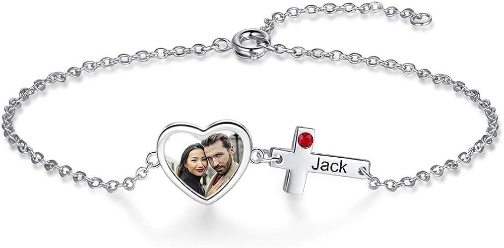 Grand Made Breloque photo personnalisée Bracelet coeur Gravure gratuite  Bracelet Pandora avec 1 nom de perles de charme argent 925 cadeau photo  pour ...