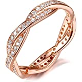 Bruce Brother Wheel of Fortune Ring Silver Rose Gold-Plated, Twist Eternity Love Band Rings with Cubic Zirconia for Women (Rose-Gold, 9)