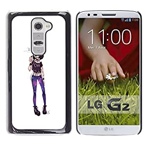 Shell-Star Arte & diseño plástico duro Fundas Cover Cubre Hard Case Cover para LG G2 / D800 / D802 / D802TA / D803 / VS980 / LS980 ( Girl Punk Funky Extravagant Fashion Purple )