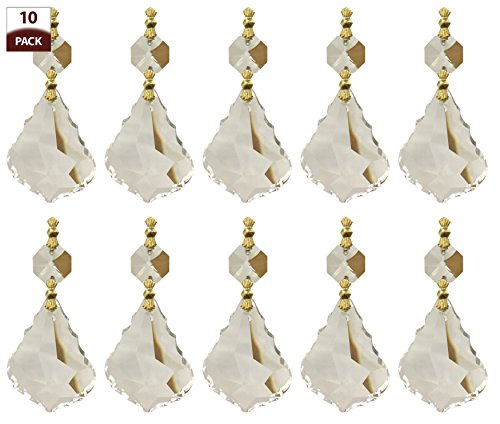 Royal Designs Replacement Chandelier Crystal Prism Clear K9 Quality French Maple Leaf Cut with Polished Brass Connectors and an Octogan Crystal Bead Pack of 10