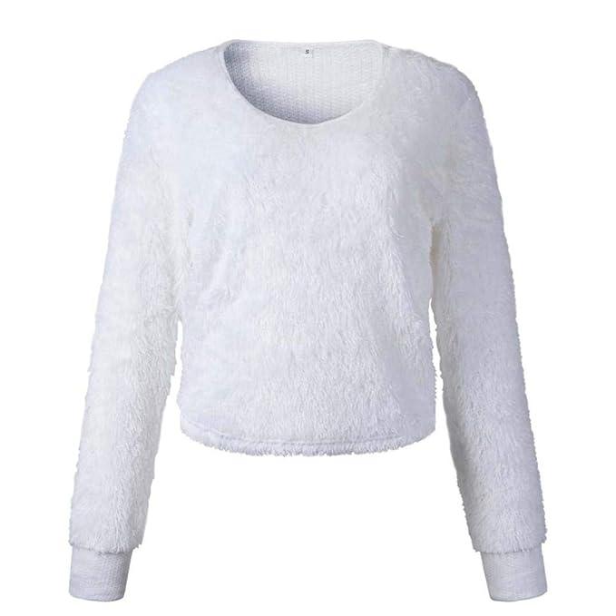 timeless design 136c1 3c7eb Lazzboy Damen Sweatshirt Pullover Langarm Einfarbig Kurzer ...