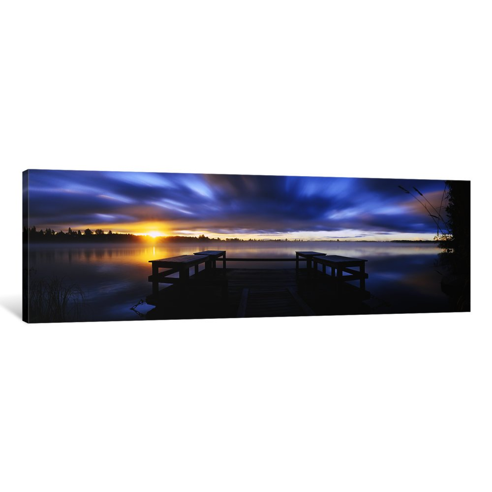 Finland Canvas Print by Panoramic Images Vuoksi River 48 x 16//1.5 Deep Imatra iCanvasART 3 Piece Panoramic View of a pier at Dusk