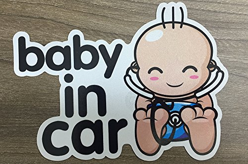 Brightt Set of x2 Baby On Board Safety Stickers for All Cars Trucks SUV (Work for All Type Bumpers/Window) Premium Quality (Light/Night time Reflective) Safety Caution Vinyl Decal Sign (Design 2)