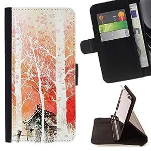 For Samsung Galaxy Note 4 IV Case , Naturaleza japonesa Fantasía Forrest- la tarjeta de Crédito Slots PU Funda de cuero Monedero caso cubierta de piel